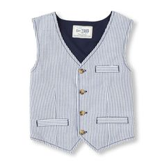 Seersucker Vest from children's place $11.99 online. Seersucker is a trending style for spring 2015. Would go great with navy or white shorts/pants and bow tie.