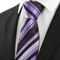 Mens Classic Purple Striped Black Necktie