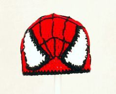 Spiderman Hat Red and Black Crochet Beanie