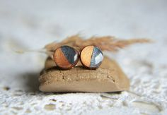 Two tone stud earrings wooden studs wood stud by MyPieceOfWood