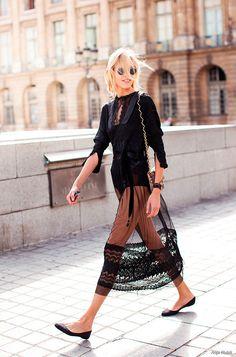 Anja Rubik, paris, street style, black boudoir, fashion week, model off duty