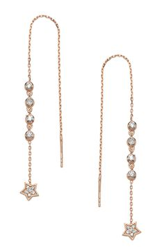 Rose Gold Plated Sterling Silver Star Chain Earrings by Amorium on @HauteLook