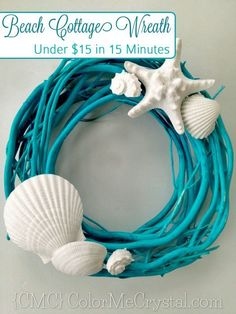 DIY Ideas & Tutorials for Nautical Home Decoration - DIY Beach Wreath Made From Spray Painted Branch And Seashell - Mermaid Crafts, Seashell Crafts, Beach Crafts, Seashell Wreath, Deco Marine, Painted Branches, Beach Room, Beach Cottages, Tiny Cottages