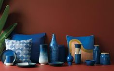 Range of cobalt blue items from Habitat, from £8 for a mug, vases from £35-50 and cushions £45