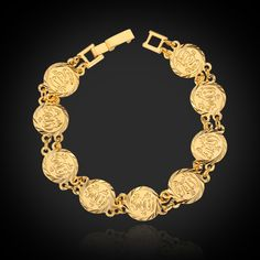 Hot sale allah coin bracelet, 18k real gold plated jewelry