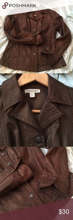"""Bronze """"Levi"""" blazer Cut to look like a Levi jacket in a bronze heavy cotton by Coldwater Creek w snaps, inset front pockets. Nicely form fitted in Petite, 23"""" from top shoulder to hem. All style Coldwater Creek Jackets & Coats Blazers"""