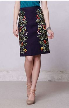 Anthro Clematis Pencil Skirt