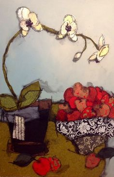 Original Mixed media on Canvas : Tablescapes : Heather Judge