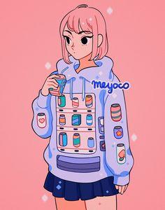 Twitter Cute Little Drawings, Cute Kawaii Drawings, Arte Do Kawaii, Kawaii Art, Cute Art Styles, Cartoon Art Styles, Japon Illustration, Animes Yandere, Art Drawings Sketches