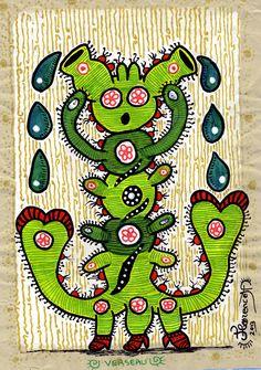 Verseau, signe du zodiaque, peinture sur papier, décoration murale, art singulier, naïf, décoratif, à encadrer : Dessins par florenceh-tableaux-art