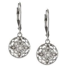 Round Vintage Inspired Diamond Earrings in Sterling Silver