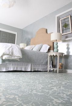goodbye carpet hello stenciled floor with annie sloan chalk paint, bedroom ideas, chalk paint, flooring, painting