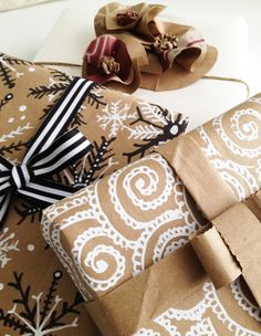 Upcycled paper bags decorated with white-out pen!!