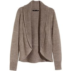 H&M Cardigan with a shawl collar ($23) ❤ liked on Polyvore featuring tops, cardigans, beige marl, marled cardigan, beige cardigan, h&m, brown tops and beige top