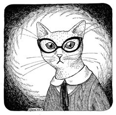 Working Mrs Cat white wearing glasses print of an by zyzanna, £15.00