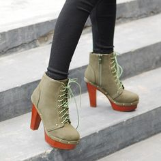 Handsome Lace-up Green Girls High Heeled Pumps  Item Code:#SQHH001-1+Green    US$21.90