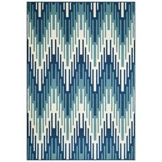 Indoor/Outdoor Blue Ikat Rug (5'3 x 7'6) | Overstock.com