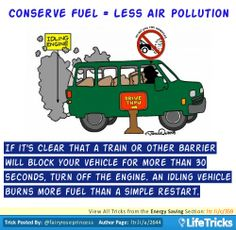 Energy Saving - Conserve fuel = Less Pollution