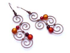 Earrings Aotearoa Copper & Polarisbeads ORANGE by ArohaJewelz, on Etsy