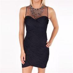 Adrianna Papell Petite Sleeveless Jeweled Illusion Neckline Dress