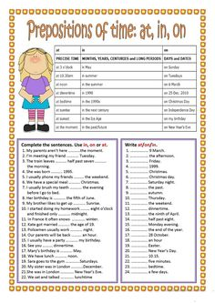 Prepositions of time : in, on, at worksheet - Free ESL printable worksheets made by teachers
