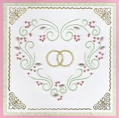 ED138 Valentine red heart on Craftsuprint designed by Emy van Schaik - made by Irene Jardine - Printed this lovely heart embroidery pattern (Emy, I adore your patterns), intending to use it as a wedding card. Cut basic pink card. Cut soft green second layer. Cut white top layer, embroidered and beaded this and also embroidered two wedding rings in the centre. Decorated card with gold border and corner stickers.  - Now available for download!