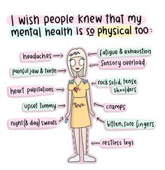 Mental illness isn't just all in your mind . You also start to feel physical ill too . Just because you cannot see it doesn't mean it's not real ! Mental And Emotional Health, Mental Health Quotes, Mental Health Matters, Mental Health Problems, What Is Mental Health, Positive Mental Health, Mental Issues, Mental Health Care, Mental Health Disorders