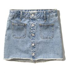 Abercrombie & Fitch Button Up Denim Skirt ($25) ❤ liked on Polyvore