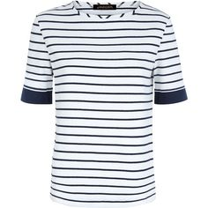 Jaeger Block Striped Breton T-shirt ($72) ❤ liked on Polyvore featuring tops, t-shirts, white, women, breton stripe t shirt, color block tee, color block t shirt, stripe tee and cotton t shirt