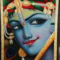 Krishna Portrait tanjor style  By Kailash Sahu  Buy this from The Art and craft Gallery