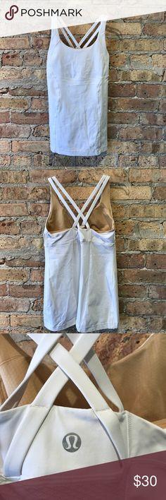 Lululemon white cross back tank size 10 Preloved, good condition, 50749 lululemon athletica Tops Tank Tops