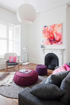 Colorful wall #art and decor that outfits a #contemporary remodel of a #Victorian era home
