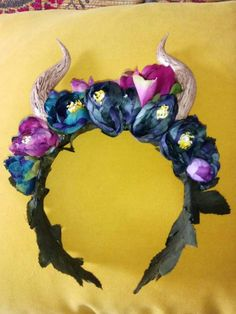 Handmade horn headdress perfect for Halloween. Beautiful horn with a maleficent twist with petrol blue and purple flowers Blue And Purple Flowers, Maleficent, Headdress, Horns, My Etsy Shop, Halloween, Bliss, How To Make, Handmade