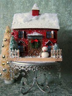 Vintage Style Putz Red Barn Christmas Glitter House Bottle Brush Trees Lighted