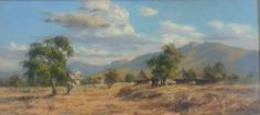 S2947 Otto Klar Landscape Oil on Board 36ccmx77cm
