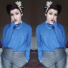 Cinema Outfit Hair piece: The Works Jumper:Thrifted Necklace: Present Trousers:Thrifted  ( #vintage #vintageoutfit #1940's #1940'soutfit #1940'shair #vintagefashion #vintagestyle )