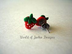 Strawberry Shaped Polymer Clay Earrings by WorldofJackieDesigns, $8.00