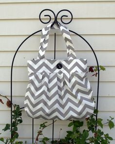 FREE SHIPPING - Gray - Chevron Purse - Pleated Purse - Diaper Bag - Tote - School Bag on Etsy, $52.00