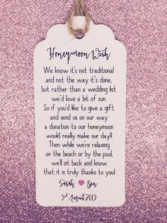 Wedding Honeymoon Fund Money Request Poem Card Favour Gift Tag Wishing Well