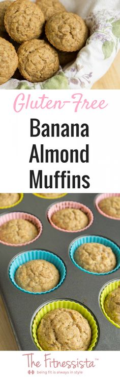 Gluten-free banana almond muffins are packed with healthy fat and protein, and contain no refined sugar.They're a delicious, healthier muffin option, andperfect for breakfast or snack.fitnessista.com | #glutenfreerecipes #glutenfreemuffins #glutenfreerecipe #muffinrecipe #healthiermuffinrecipe