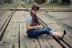Tieka from Selective Potential...I love railroad tracks & geeky girls :)