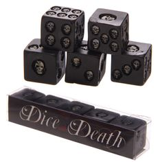 Set of 5 Black Skull Dice £9.00 plus postage Made from resin our skulls are fun and gruesome, and will make an ideal present for the friend or family member who has everything. Dimensions: Height 1.5cm Width 1.5cm Depth 1.5cm