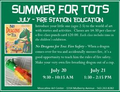 """""""No Dragons for Tea: Fire Safety"""", Summer for Tots at the Muscatine Art Center."""