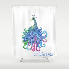 Peacock Shower Curtain  Peacock  Watercolor by ArtfullyFeathered