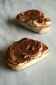 Ciao bella!  These insanely easy to make tiramisu toasts are quickly becoming my go-to  snack.  And breakfast, and dessert.  So stock-up on mascarpone.  And get toasting!  Recipe  Makes 4  Ingredients      * 8 oz mascarpone cheese     * 1 tbsp powdered sugar     * 1/2 tsp real vanilla extract     * 2 oz espresso or very strong coffee, cooled     * 4 slices crusty italian bread     * 2 tsp coconut butter or coconut oil     * 1/4 tsp unsweetened cocoa powder  Instructions     1. In a small…