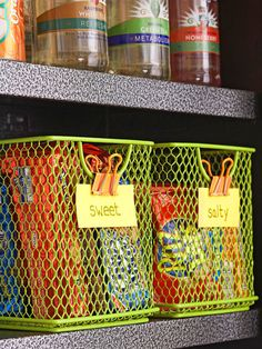 Baskets can be helpful for organizing kitchen supplies. Place a basket with handles on a pantry shelf for easy access to contents. A mesh design with labels allows you to see contents at a glance.