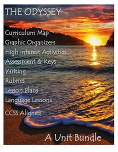 This unit bundle is filled with over 80 pages/slides of fun activities, differentiated instruction, lesson plans, projects, graphic organizers, vocabulary instruction, assessments, writing pieces, and literary device activities. The unit is directly aligns to the Robert Fitzgerald translation of the Odyssey often found in 9th grade literature anthologies.