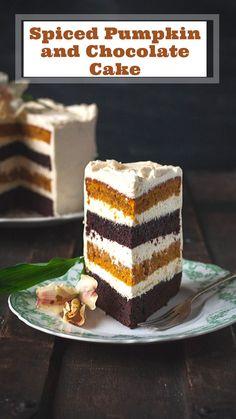 Spiced Pumpkin and Chocolate Cake with Maple Cinnamon Mascarpone Frosting - Vikalinka Layer Cake Recipes, Sheet Cake Recipes, Easy Cake Recipes, Cupcake Recipes, Baking Recipes, Sweet Recipes, Delicious Recipes, Dessert Recipes, Spiced Pumpkin