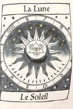 La Lune, La Soleil, sun and moon, tarot card, esoteric Stampin Up Karten, Under Your Spell, Sun Moon Stars, Trendy Tattoos, Moon Child, Tarot Cards, Tatting, Spirituality, Drawings