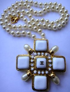 Vintage Chanel Maltese Cross Pearl Necklace